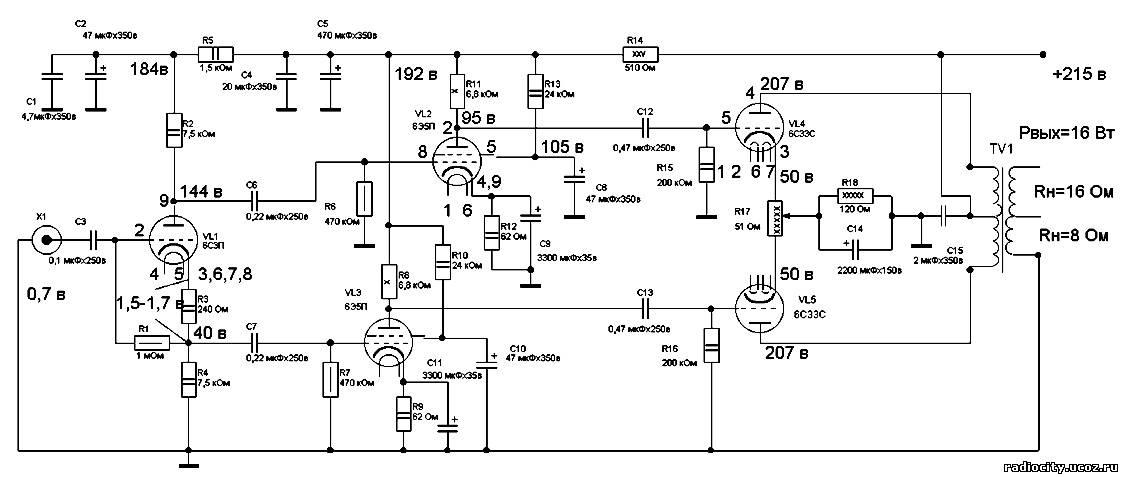 Схема усилителя на лампе 6с33с